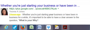 What is Your Why Google + results
